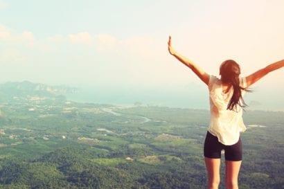 Solo travel mountain girl