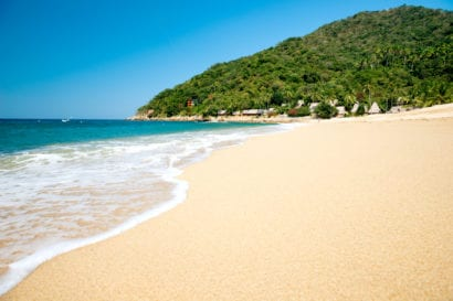 sunny secluded beach in Mexico