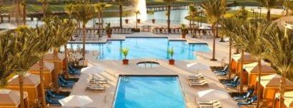 Pool overlooking lake and foundation at Waldorf Orlando