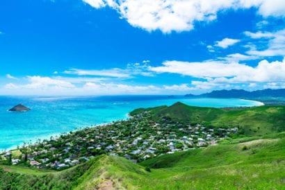 beautiful green landscape in Oahu