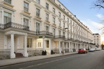 Street view of London hotel