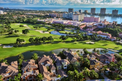 Golf course in Florida next to the ocean