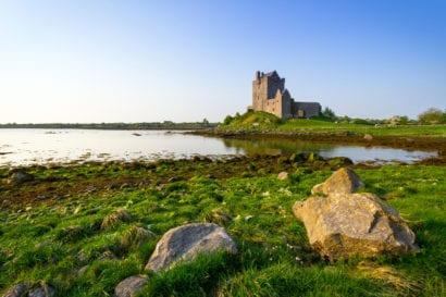 Castle overlooking lake in Ireland