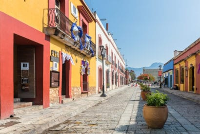 street with colorful buildings in Mexico
