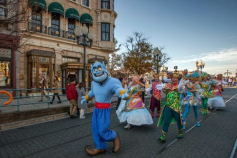 Disney characters parading down main street