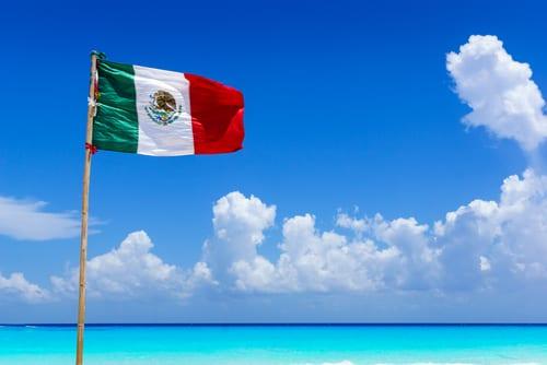 Mexico flag on beach