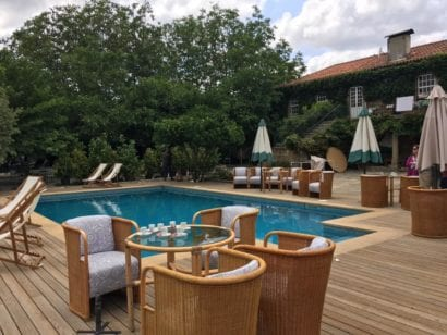pool deck and drink trays at wine vineyard in portugal