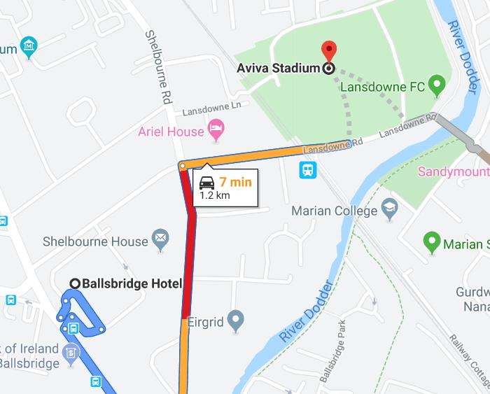 Ballsbridge Hotel map