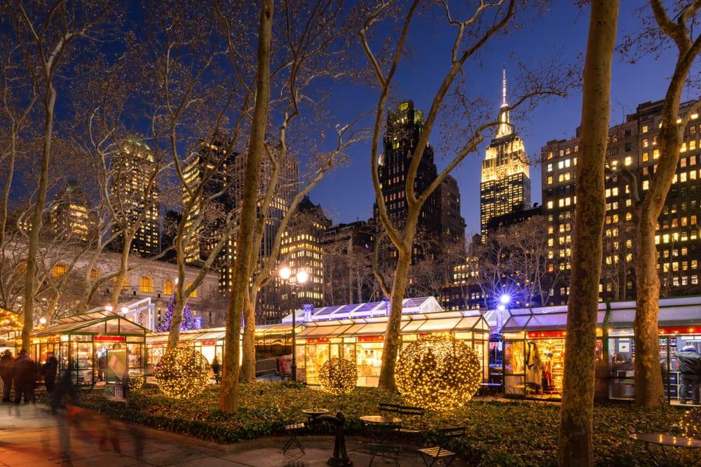 christmas in new york bryant park